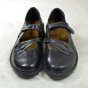 NAOT Primrose Leaf Black Leather Mary Janes